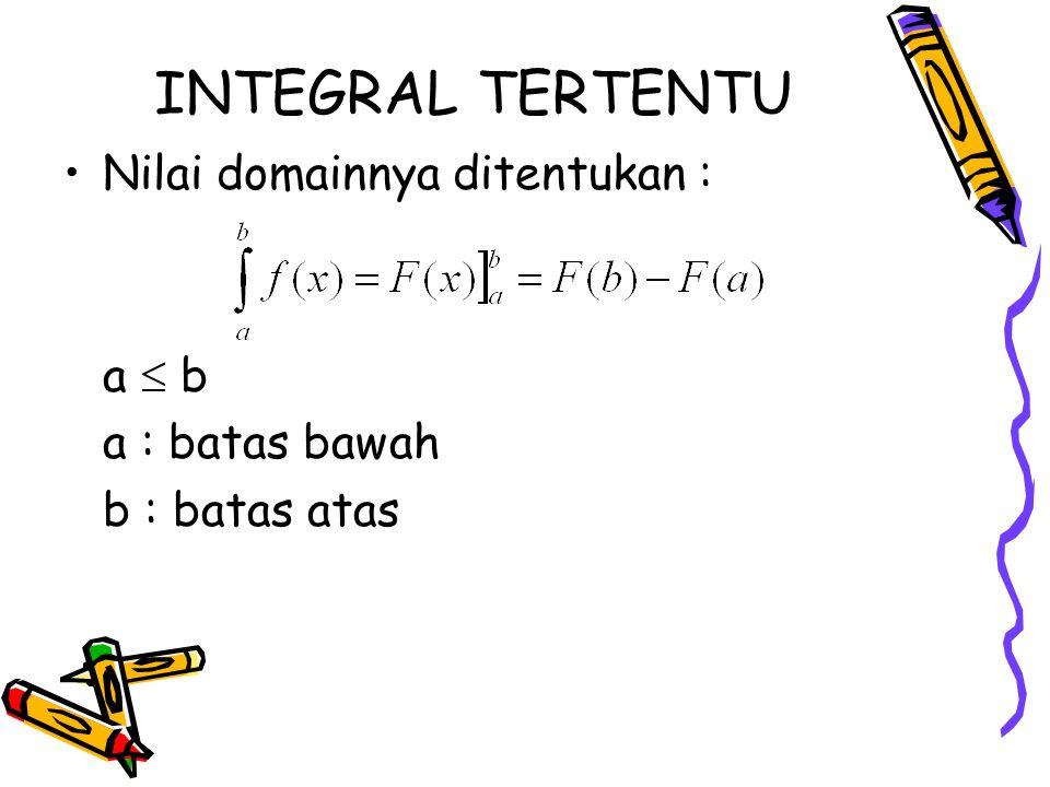 INTEGRAL TERTENTU Nilai domainnya ditentukan : a  b a : batas bawah b : batas atas