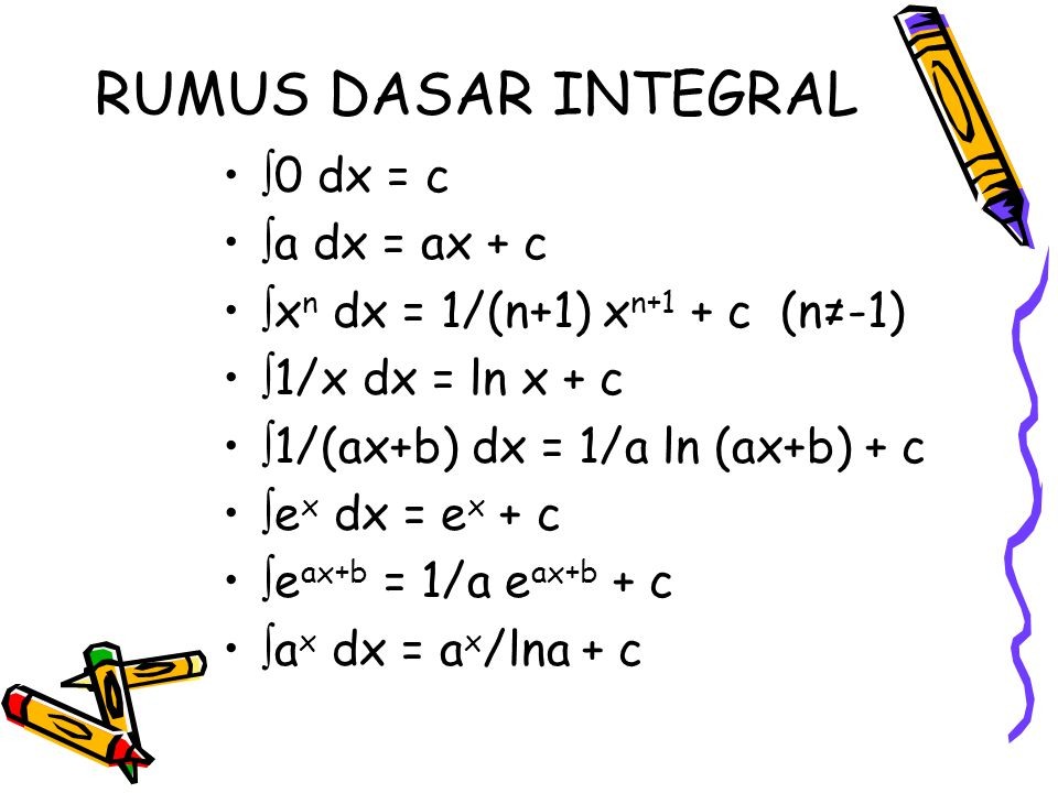 RUMUS DASAR INTEGRAL  0 dx = c  a dx = ax + c  x n dx = 1/(n+1) x n+1 + c (n≠-1)  1/x dx = ln x + c  1/(ax+b) dx = 1/a ln (ax+b) + c  e x dx = e