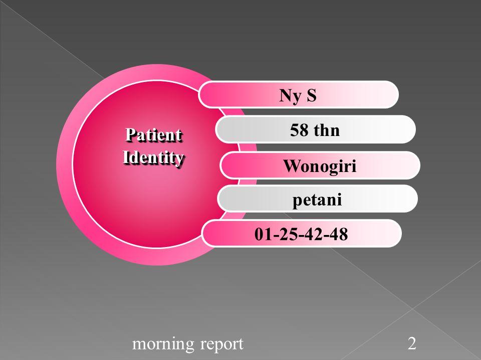 LAB 14-5-2014  Hb:14,4 g/dl  Hct: 41%  AL: 8400 ribu/ul  AT: 186.000/ul  AE: 4,36 juta/ul  Gol darah:A  GDS: 121 mg/dl  OT: 40 U/L  PT: 53 U/L  Ur/Cr: 0,9/73 mg/dl  Na/K/Cl: 155/4,8/117 LAB 16-5-2014  KOLESTEROL TOTAL :213  LDL: 108  HDL:25  TRIGLSERID:80  GD2PP: 210  CALCIUM:1,09 LAB 17-5-2014  HbA1C:5,6  GDP:153  GD2PP:177  PROTEIN TOTAL:6,3  GLOBULIN:3,8  ALBUMIN: 2,5 LAB 19-5-2014  GDP: 105  GD2PP: 142