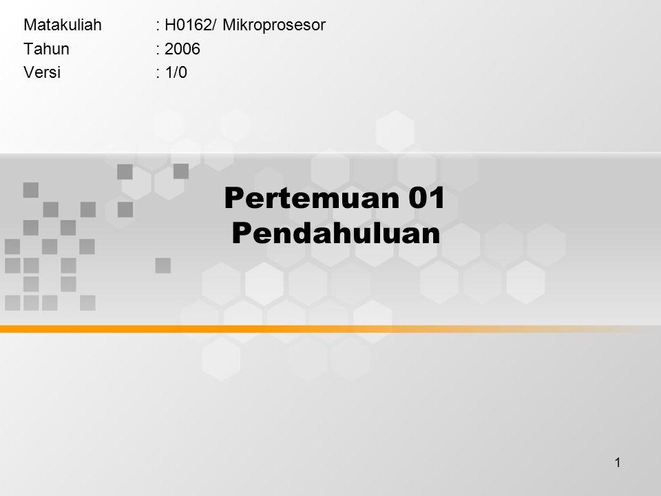 1 Pertemuan 01 Pendahuluan Matakuliah: H0162/ Mikroprosesor Tahun: 2006 Versi: 1/0