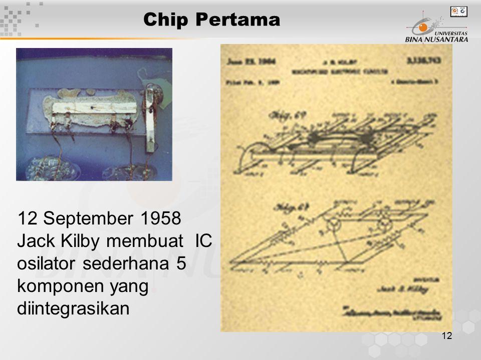 12 Chip Pertama 12 September 1958 Jack Kilby membuat IC osilator sederhana 5 komponen yang diintegrasikan