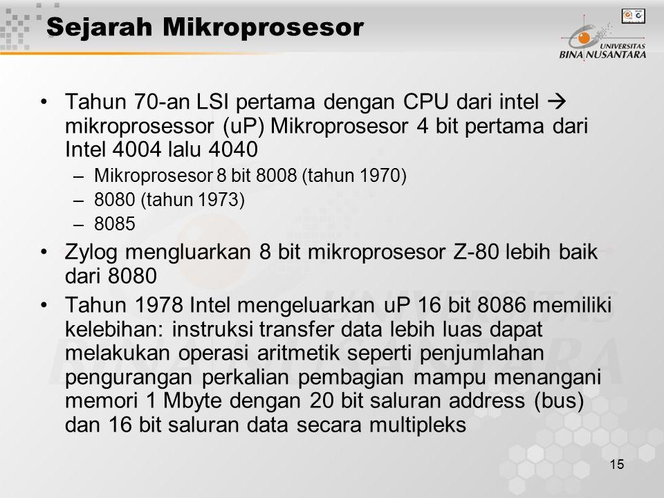 15 Sejarah Mikroprosesor Tahun 70-an LSI pertama dengan CPU dari intel  mikroprosessor (uP) Mikroprosesor 4 bit pertama dari Intel 4004 lalu 4040 –Mikroprosesor 8 bit 8008 (tahun 1970) –8080 (tahun 1973) –8085 Zylog mengluarkan 8 bit mikroprosesor Z-80 lebih baik dari 8080 Tahun 1978 Intel mengeluarkan uP 16 bit 8086 memiliki kelebihan: instruksi transfer data lebih luas dapat melakukan operasi aritmetik seperti penjumlahan pengurangan perkalian pembagian mampu menangani memori 1 Mbyte dengan 20 bit saluran address (bus) dan 16 bit saluran data secara multipleks