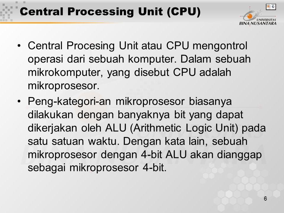 6 Central Processing Unit (CPU) Central Procesing Unit atau CPU mengontrol operasi dari sebuah komputer.