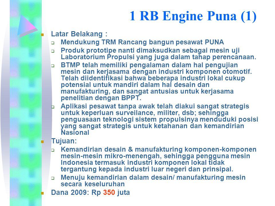 Hasil RB Engine PUNA 2009 Rancang bangun rig uji dan juga mesin serta komponen mesin.