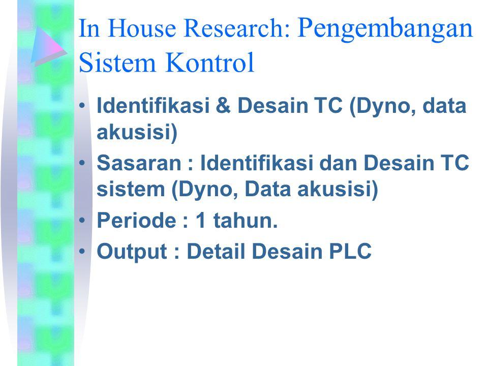 In House Research: Pengembangan Sistem Kontrol Identifikasi & Desain TC (Dyno, data akusisi) Sasaran : Identifikasi dan Desain TC sistem (Dyno, Data a