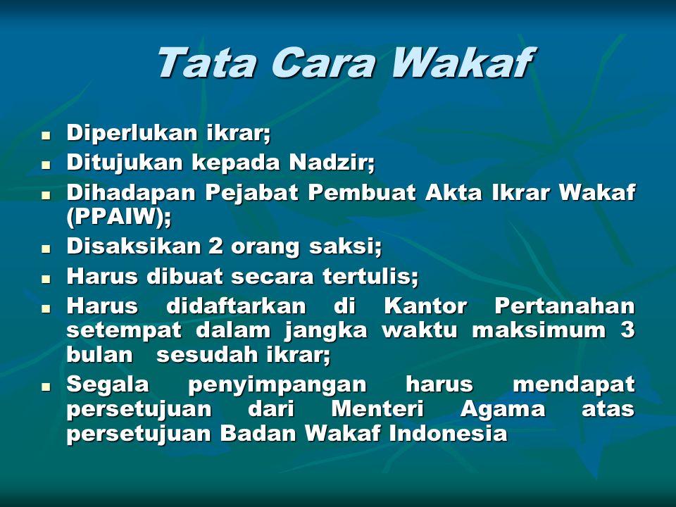 Tata Cara Wakaf Diperlukan ikrar; Diperlukan ikrar; Ditujukan kepada Nadzir; Ditujukan kepada Nadzir; Dihadapan Pejabat Pembuat Akta Ikrar Wakaf (PPAI