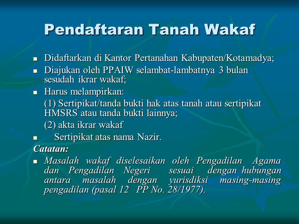 Pendaftaran Tanah Wakaf Didaftarkan di Kantor Pertanahan Kabupaten/Kotamadya; Didaftarkan di Kantor Pertanahan Kabupaten/Kotamadya; Diajukan oleh PPAI