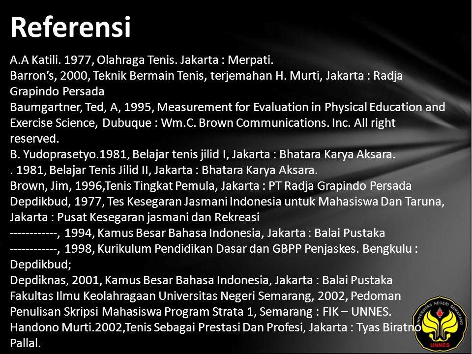 Referensi A.A Katili.1977, Olahraga Tenis. Jakarta : Merpati.