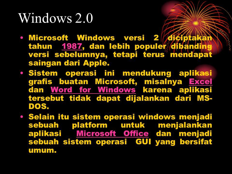 Microsoft Windows versi 2 diciptakan tahun 1987, dan lebih populer dibanding versi sebelumnya, tetapi terus mendapat saingan dari Apple.1987 Sistem op
