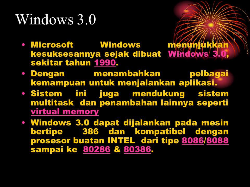 Microsoft Windows menunjukkan kesuksesannya sejak dibuat Windows 3.0, sekitar tahun 1990.Windows 3.01990 Dengan menambahkan pelbagai kemampuan untuk menjalankan aplikasi.