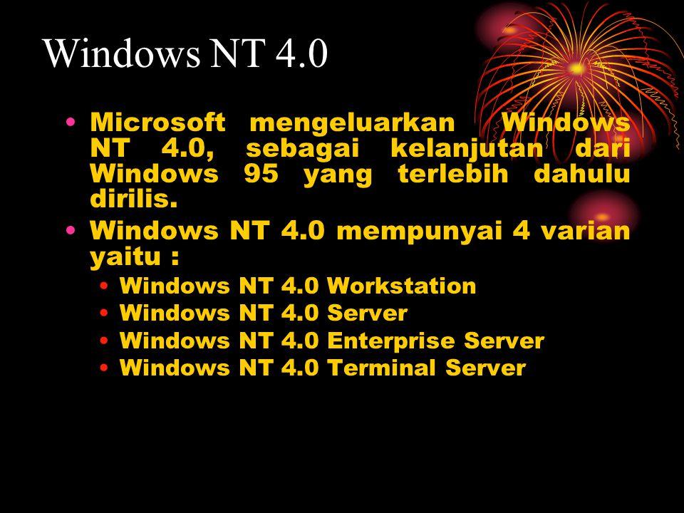 Microsoft mengeluarkan Windows NT 4.0, sebagai kelanjutan dari Windows 95 yang terlebih dahulu dirilis. Windows NT 4.0 mempunyai 4 varian yaitu : Wind