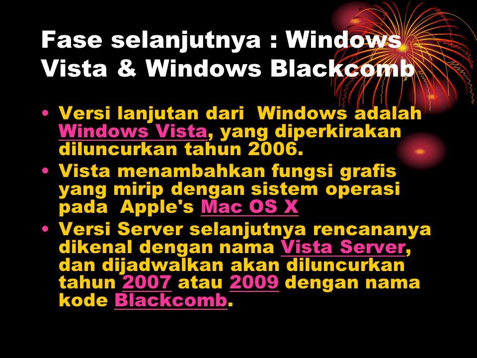 Fase selanjutnya : Windows Vista & Windows Blackcomb Versi lanjutan dari Windows adalah Windows Vista, yang diperkirakan diluncurkan tahun 2006.