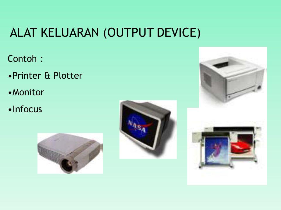 ALAT KELUARAN (OUTPUT DEVICE) Contoh : Printer & Plotter Monitor Infocus