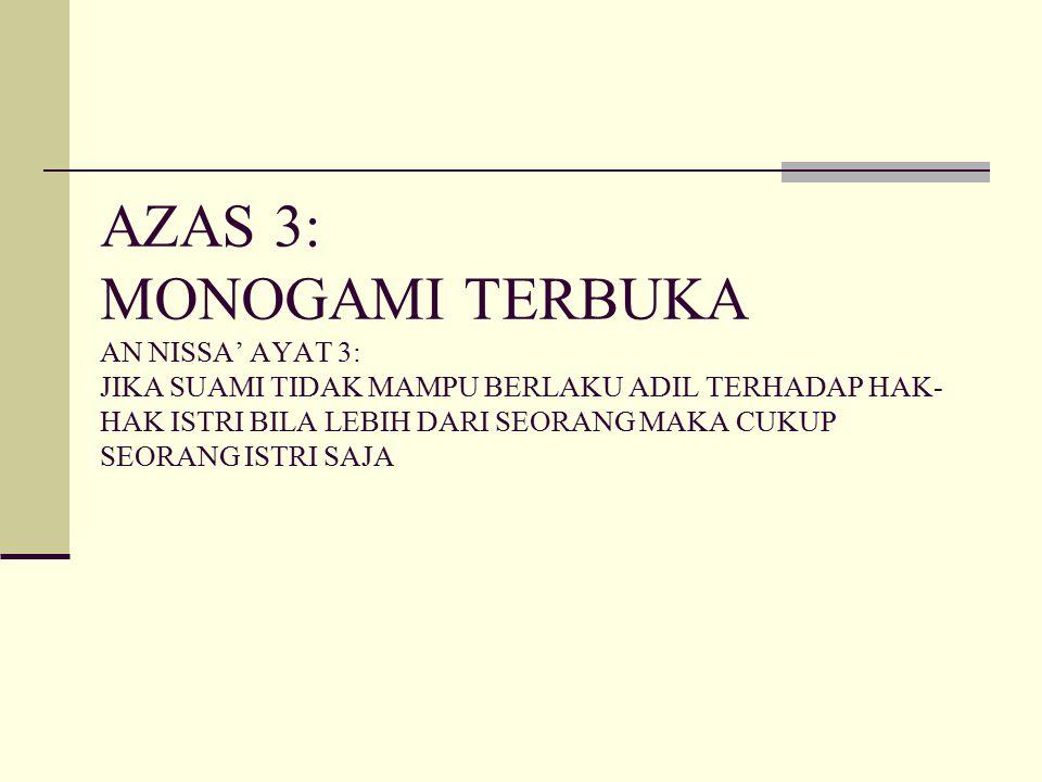AZAS 3: MONOGAMI TERBUKA AN NISSA' AYAT 3: JIKA SUAMI TIDAK MAMPU BERLAKU ADIL TERHADAP HAK- HAK ISTRI BILA LEBIH DARI SEORANG MAKA CUKUP SEORANG ISTR