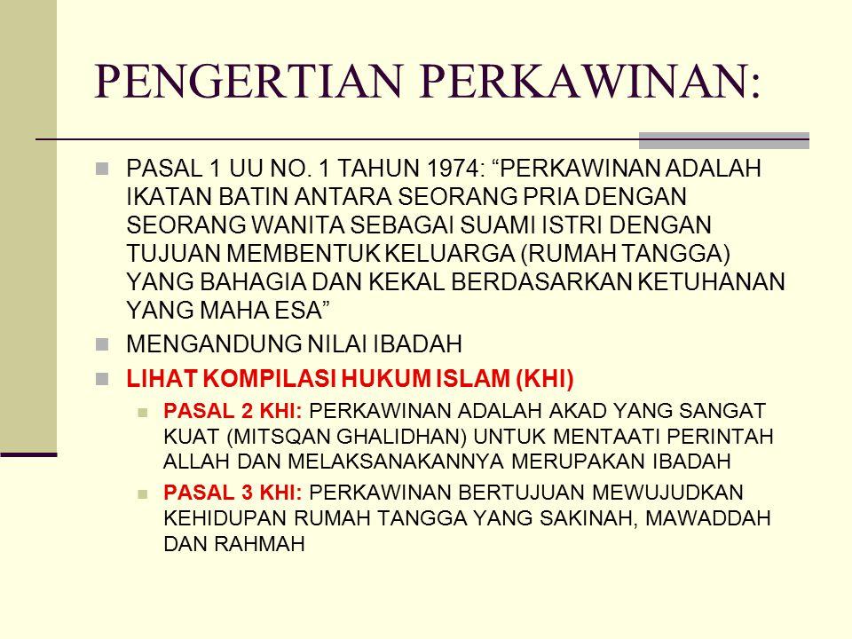 """PENGERTIAN PERKAWINAN: PASAL 1 UU NO. 1 TAHUN 1974: """"PERKAWINAN ADALAH IKATAN BATIN ANTARA SEORANG PRIA DENGAN SEORANG WANITA SEBAGAI SUAMI ISTRI DENG"""