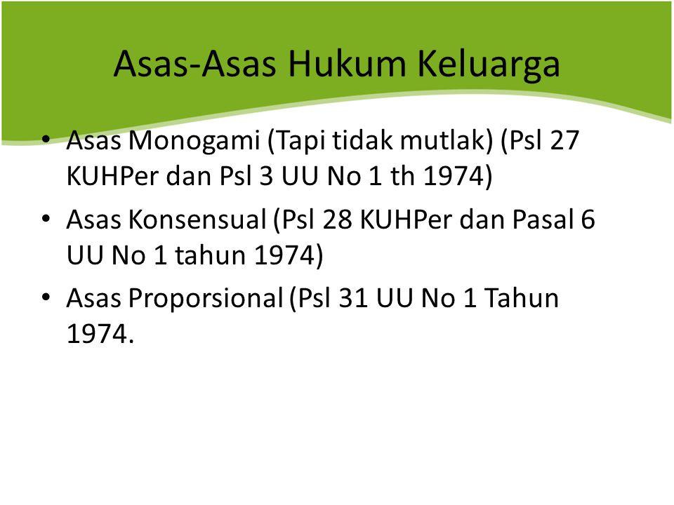 Asas-Asas Hukum Keluarga Asas Monogami (Tapi tidak mutlak) (Psl 27 KUHPer dan Psl 3 UU No 1 th 1974) Asas Konsensual (Psl 28 KUHPer dan Pasal 6 UU No 1 tahun 1974) Asas Proporsional (Psl 31 UU No 1 Tahun 1974.