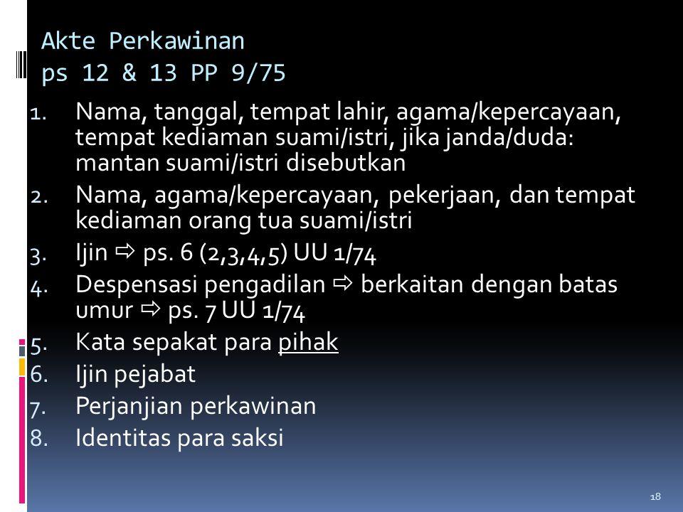 18 Akte Perkawinan ps 12 & 13 PP 9/75 1.