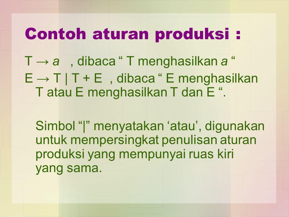 Contoh aturan produksi : T → a, dibaca T menghasilkan a E → T | T + E, dibaca E menghasilkan T atau E menghasilkan T dan E .