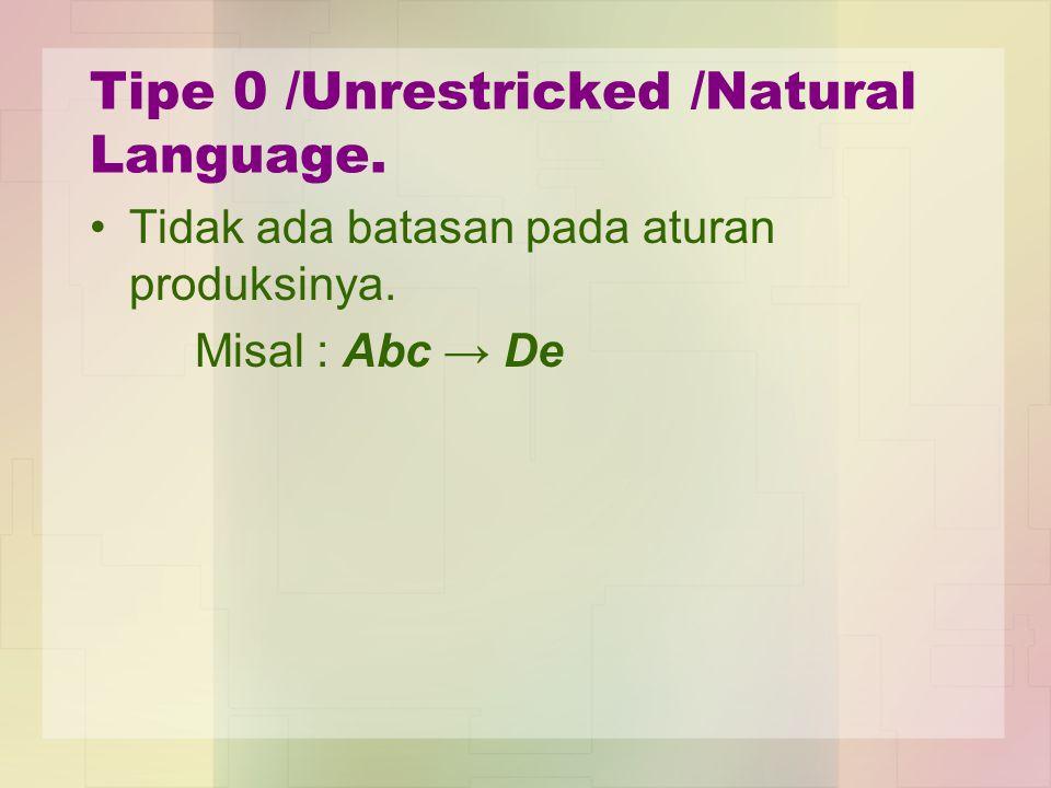 Tipe 0 /Unrestricked /Natural Language. Tidak ada batasan pada aturan produksinya. Misal : Abc → De