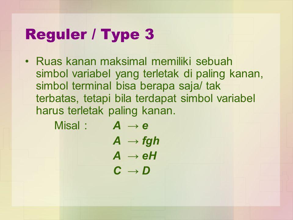 Reguler / Type 3 Ruas kanan maksimal memiliki sebuah simbol variabel yang terletak di paling kanan, simbol terminal bisa berapa saja/ tak terbatas, tetapi bila terdapat simbol variabel harus terletak paling kanan.