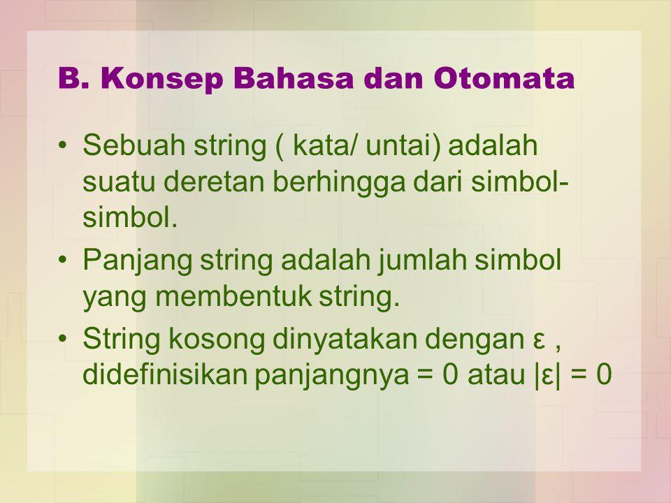 B. Konsep Bahasa dan Otomata Sebuah string ( kata/ untai) adalah suatu deretan berhingga dari simbol- simbol. Panjang string adalah jumlah simbol yang