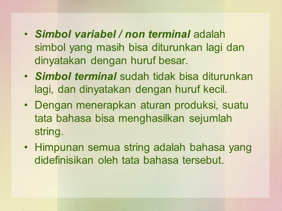 Simbol variabel / non terminal adalah simbol yang masih bisa diturunkan lagi dan dinyatakan dengan huruf besar. Simbol terminal sudah tidak bisa ditur