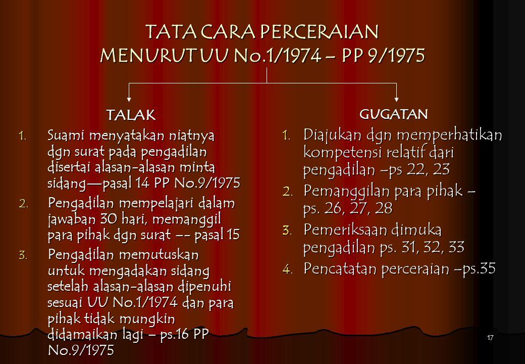 17 TATA CARA PERCERAIAN MENURUT UU No.1/1974 – PP 9/1975 TALAK 1. Suami menyatakan niatnya dgn surat pada pengadilan disertai alasan-alasan minta sida