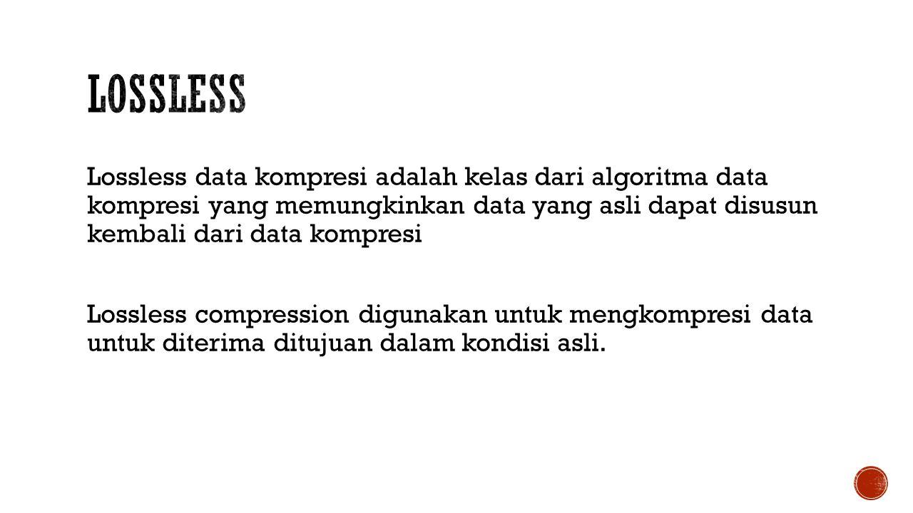 Lossless data kompresi adalah kelas dari algoritma data kompresi yang memungkinkan data yang asli dapat disusun kembali dari data kompresi Lossless compression digunakan untuk mengkompresi data untuk diterima ditujuan dalam kondisi asli.