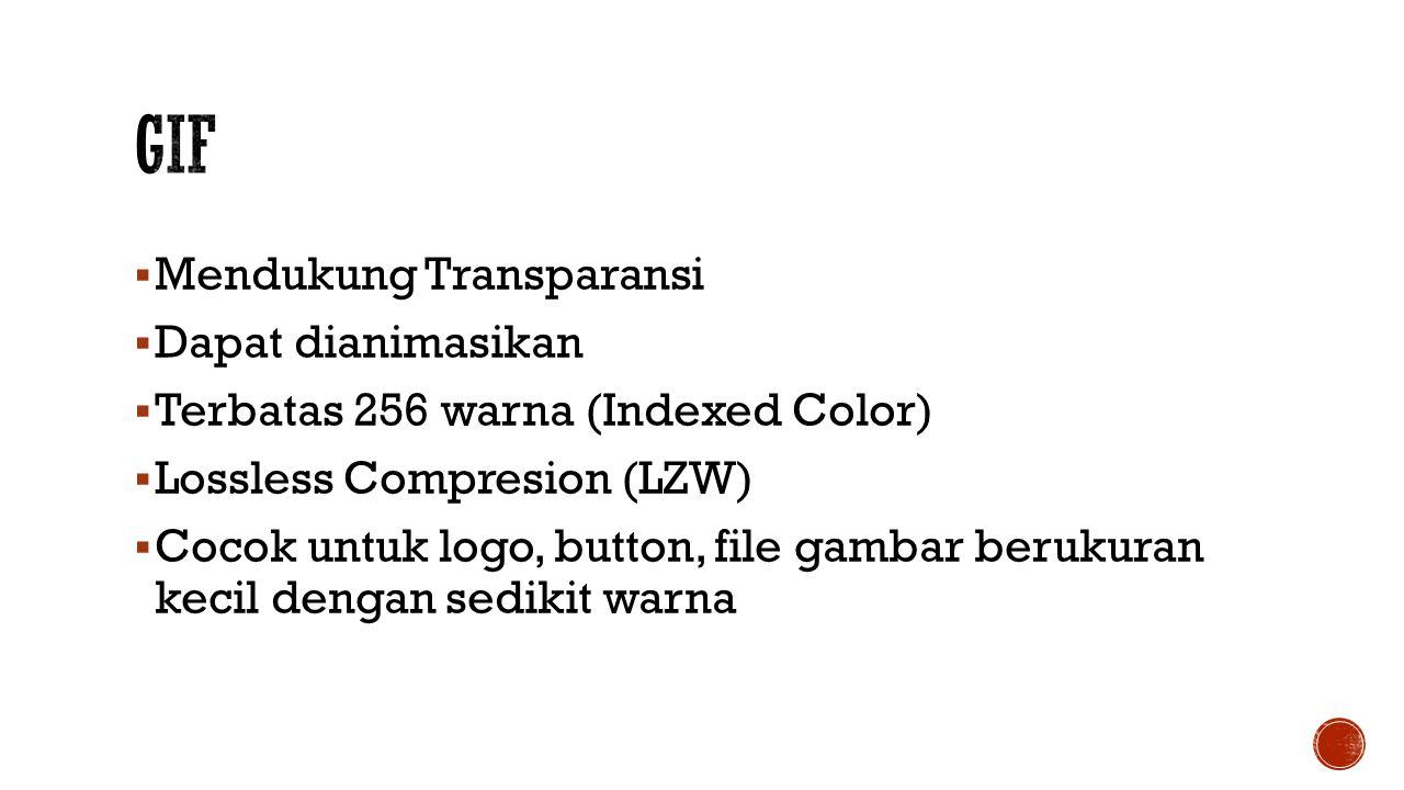  Mendukung Transparansi  Dapat dianimasikan  Terbatas 256 warna (Indexed Color)  Lossless Compresion (LZW)  Cocok untuk logo, button, file gambar berukuran kecil dengan sedikit warna