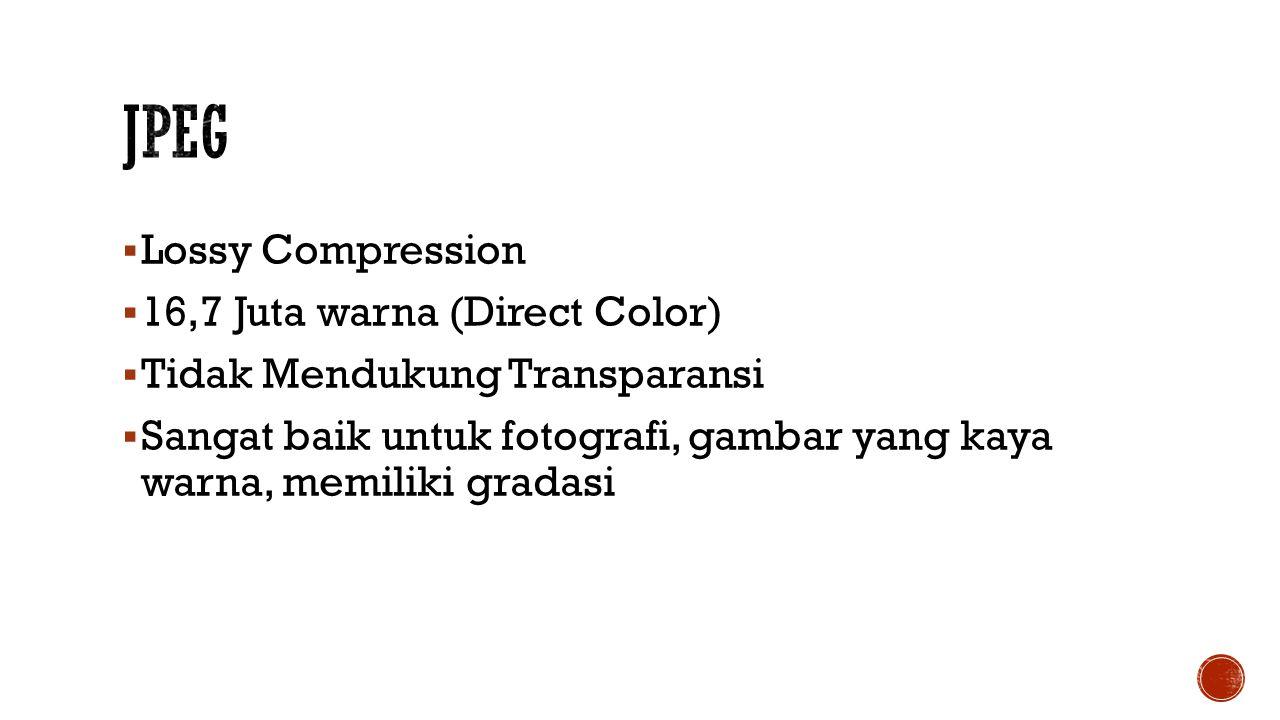  Lossy Compression  16,7 Juta warna (Direct Color)  Tidak Mendukung Transparansi  Sangat baik untuk fotografi, gambar yang kaya warna, memiliki gradasi