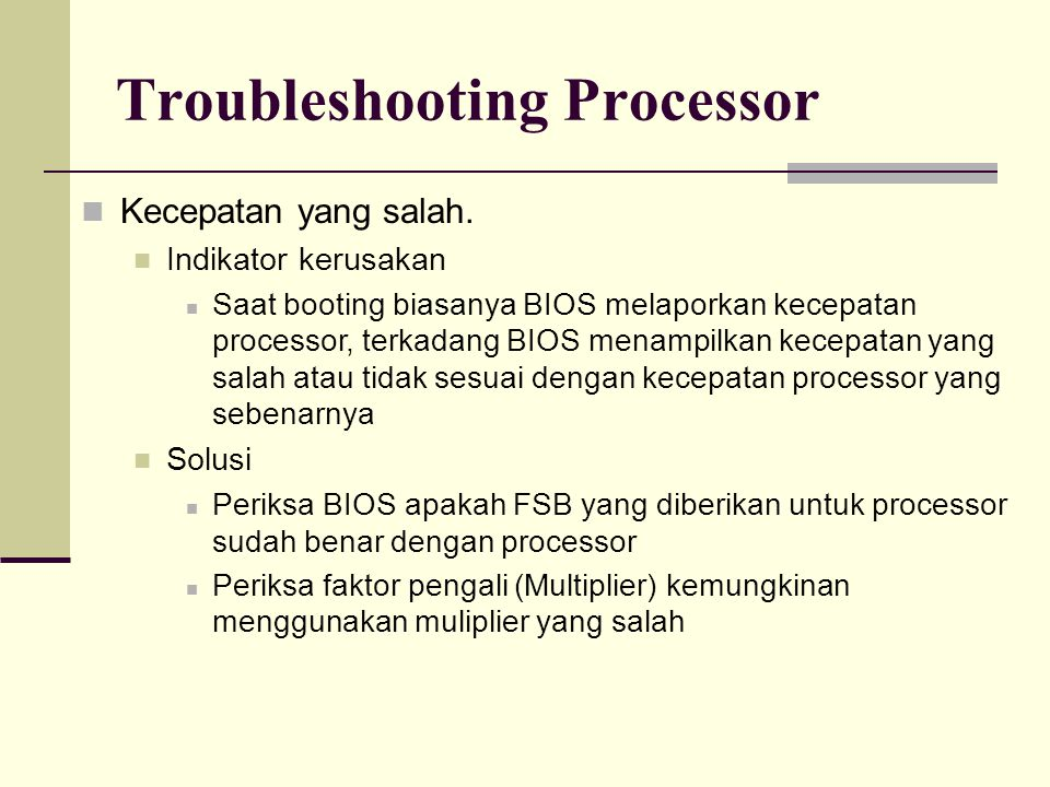 Troubleshooting Processor Cache yang Hilang.