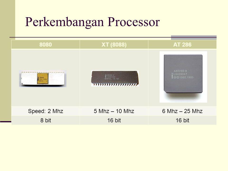 Perkembangan Processor 8080XT (8088)AT 286 Speed: 2 Mhz5 Mhz – 10 Mhz6 Mhz – 25 Mhz 8 bit16 bit
