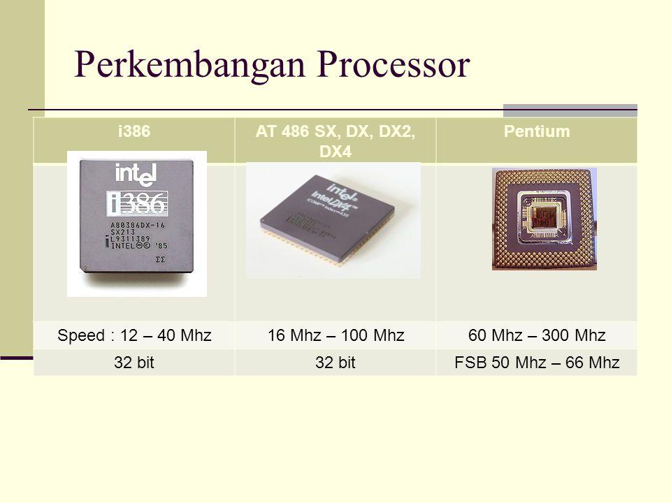 Perkembangan Processor i386AT 486 SX, DX, DX2, DX4 Pentium Speed : 12 – 40 Mhz16 Mhz – 100 Mhz60 Mhz – 300 Mhz 32 bit FSB 50 Mhz – 66 Mhz