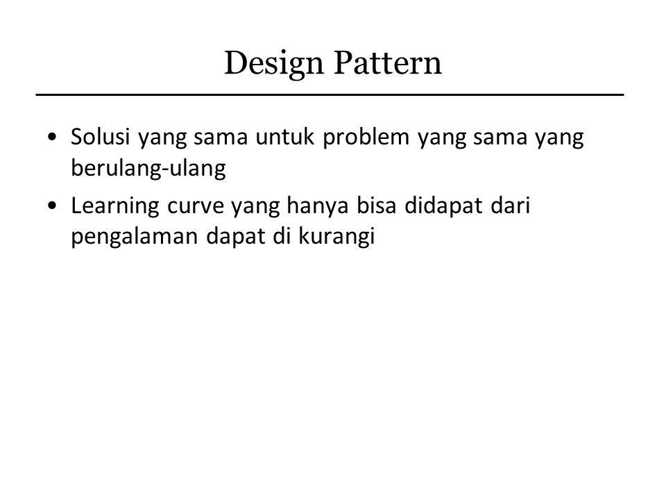 Design Pattern Solusi yang sama untuk problem yang sama yang berulang-ulang Learning curve yang hanya bisa didapat dari pengalaman dapat di kurangi