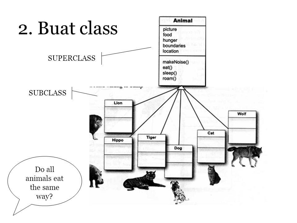 2. Buat class SUPERCLASS SUBCLASS Do all animals eat the same way?