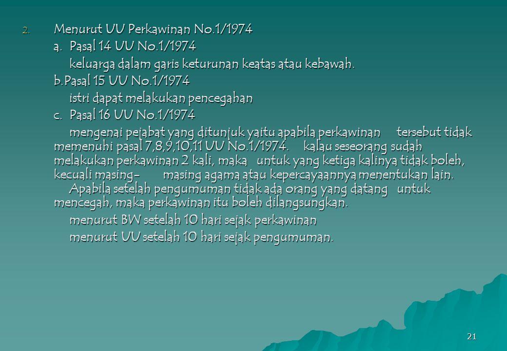21 2. Menurut UU Perkawinan No.1/1974 a.Pasal 14 UU No.1/1974 keluarga dalam garis keturunan keatas atau kebawah. b.Pasal 15 UU No.1/1974 istri dapat