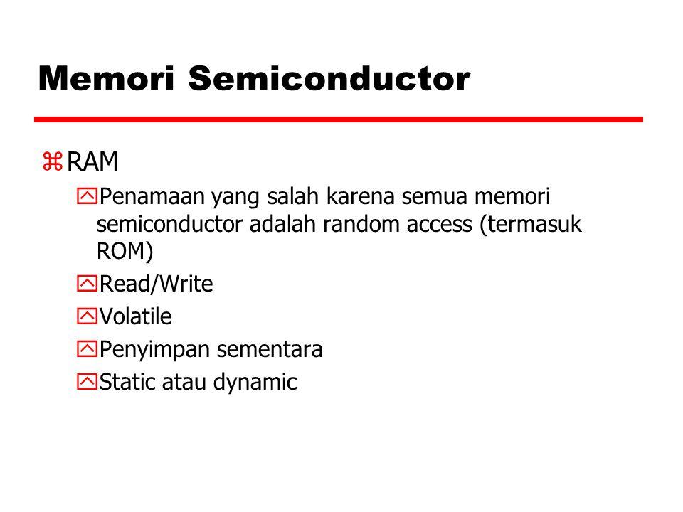 Memori Semiconductor zRAM yPenamaan yang salah karena semua memori semiconductor adalah random access (termasuk ROM) yRead/Write yVolatile yPenyimpan