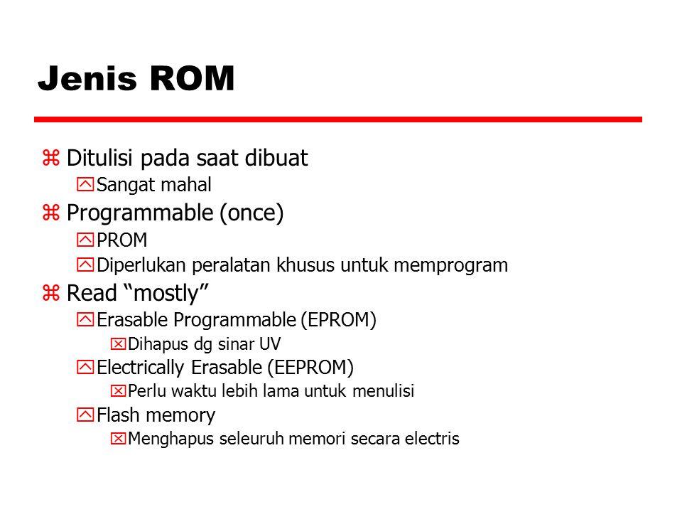 "Jenis ROM zDitulisi pada saat dibuat ySangat mahal zProgrammable (once) yPROM yDiperlukan peralatan khusus untuk memprogram zRead ""mostly"" yErasable P"