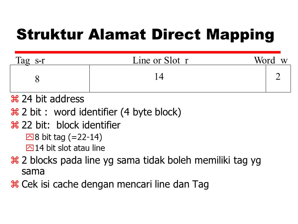 Struktur Alamat Direct Mapping Tag s-rLine or Slot rWord w 8 142 z 24 bit address z 2 bit : word identifier (4 byte block) z 22 bit: block identifier