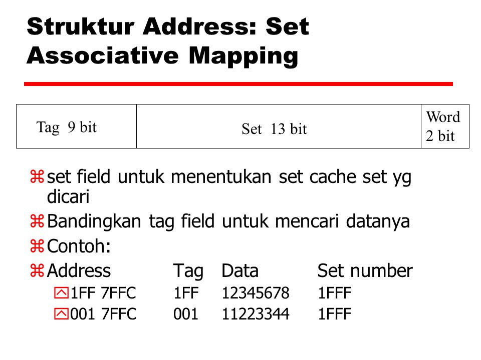 Struktur Address: Set Associative Mapping zset field untuk menentukan set cache set yg dicari zBandingkan tag field untuk mencari datanya zContoh: zAd