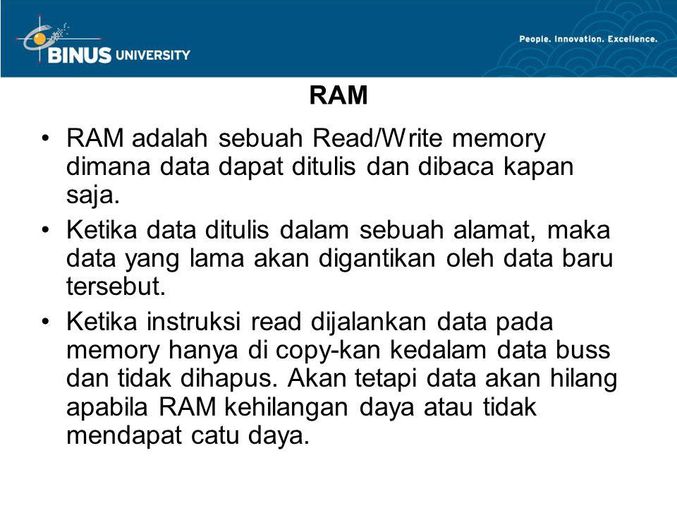 RAM RAM adalah sebuah Read/Write memory dimana data dapat ditulis dan dibaca kapan saja. Ketika data ditulis dalam sebuah alamat, maka data yang lama