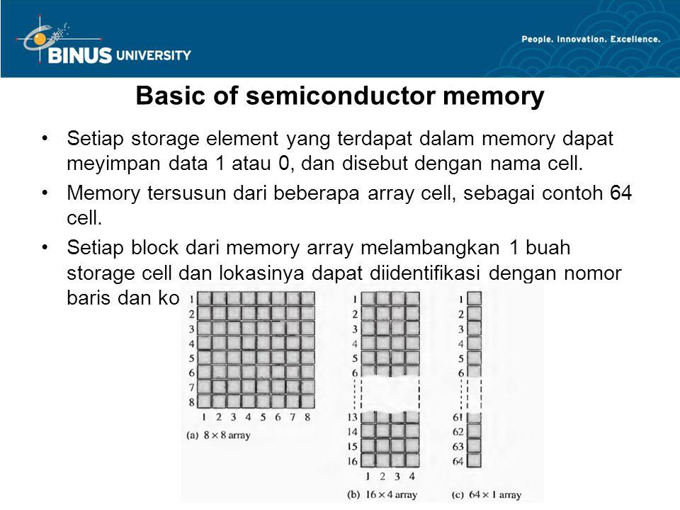 Basic of semiconductor memory Setiap storage element yang terdapat dalam memory dapat meyimpan data 1 atau 0, dan disebut dengan nama cell. Memory ter