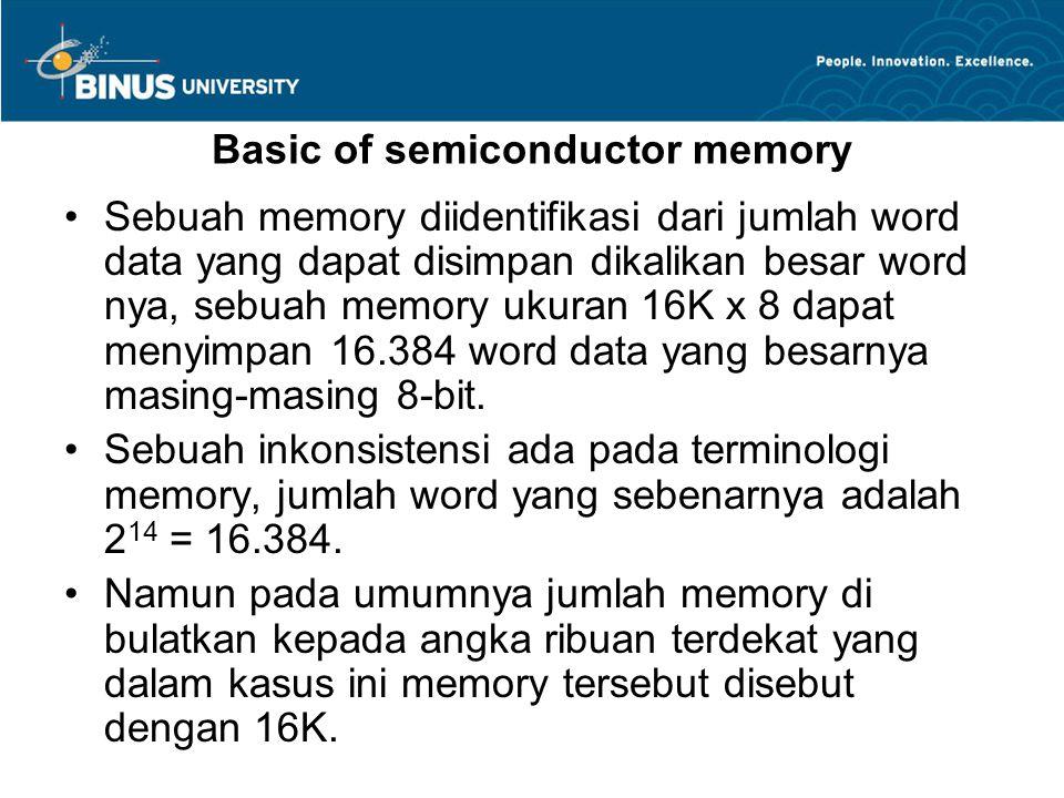 Basic of semiconductor memory Sebuah memory diidentifikasi dari jumlah word data yang dapat disimpan dikalikan besar word nya, sebuah memory ukuran 16K x 8 dapat menyimpan 16.384 word data yang besarnya masing-masing 8-bit.