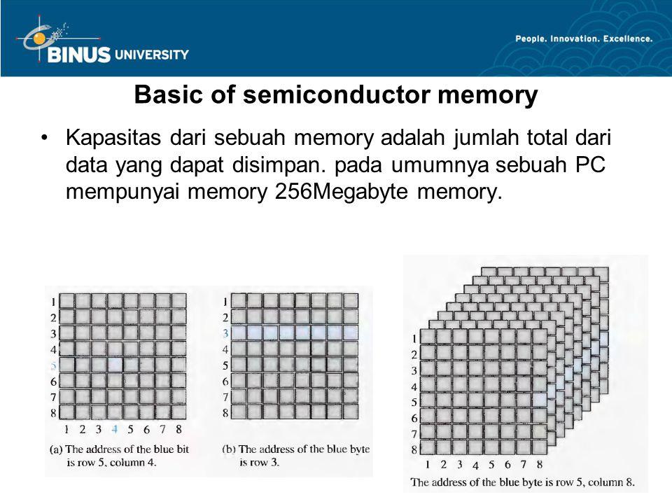 Basic of semiconductor memory Kapasitas dari sebuah memory adalah jumlah total dari data yang dapat disimpan. pada umumnya sebuah PC mempunyai memory