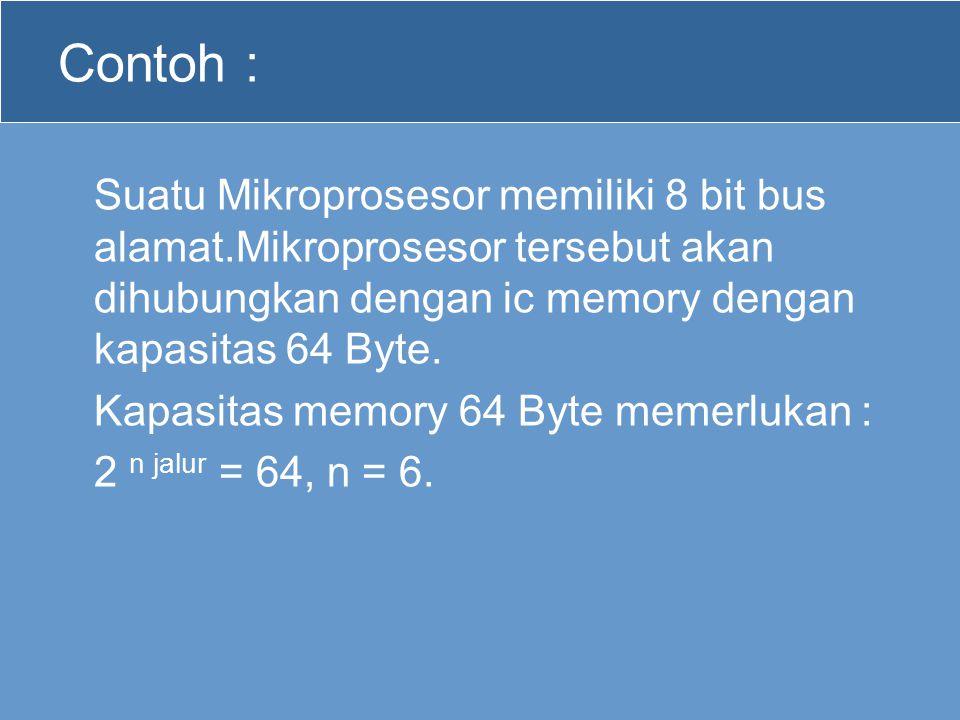 Contoh : Suatu Mikroprosesor memiliki 8 bit bus alamat.Mikroprosesor tersebut akan dihubungkan dengan ic memory dengan kapasitas 64 Byte.