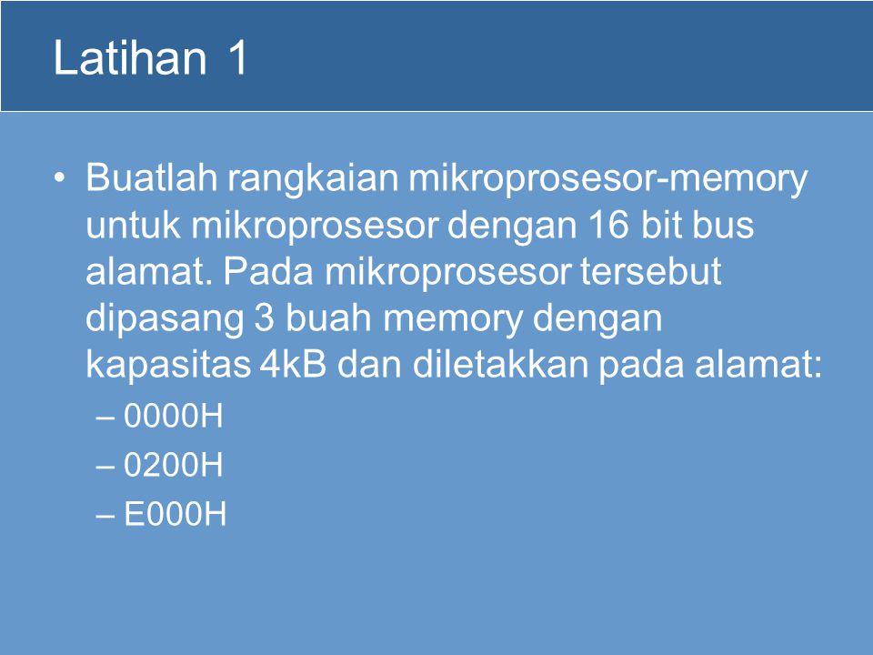 Latihan 1 Buatlah rangkaian mikroprosesor-memory untuk mikroprosesor dengan 16 bit bus alamat. Pada mikroprosesor tersebut dipasang 3 buah memory deng