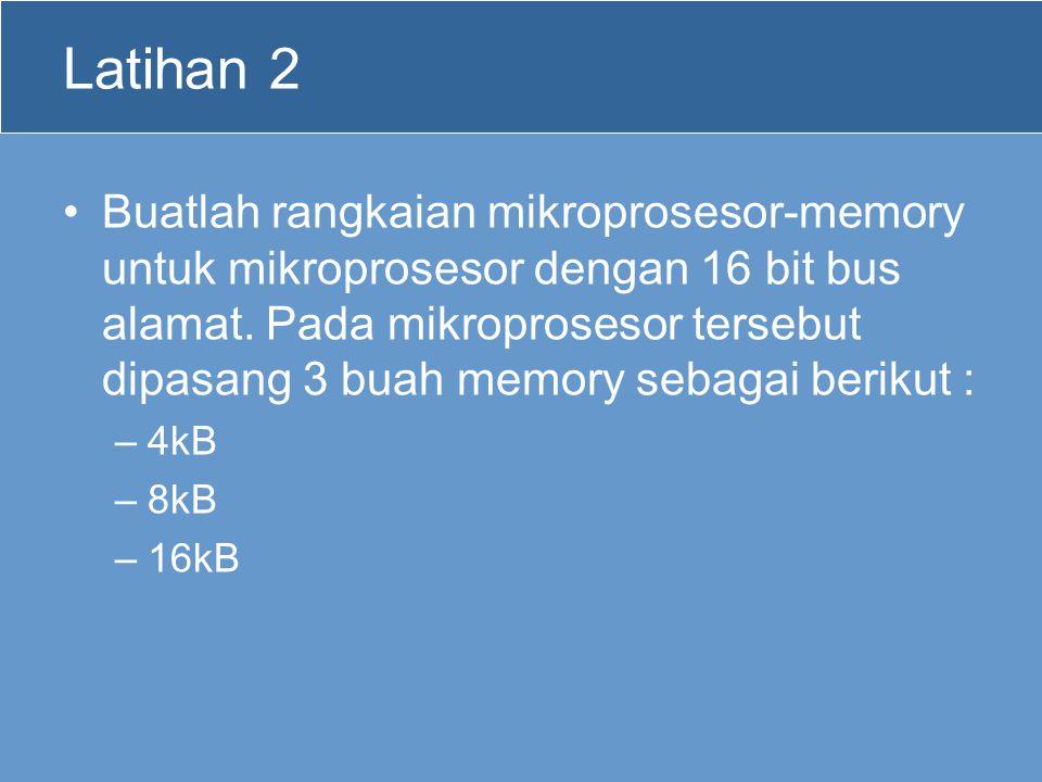 Latihan 2 Buatlah rangkaian mikroprosesor-memory untuk mikroprosesor dengan 16 bit bus alamat. Pada mikroprosesor tersebut dipasang 3 buah memory seba