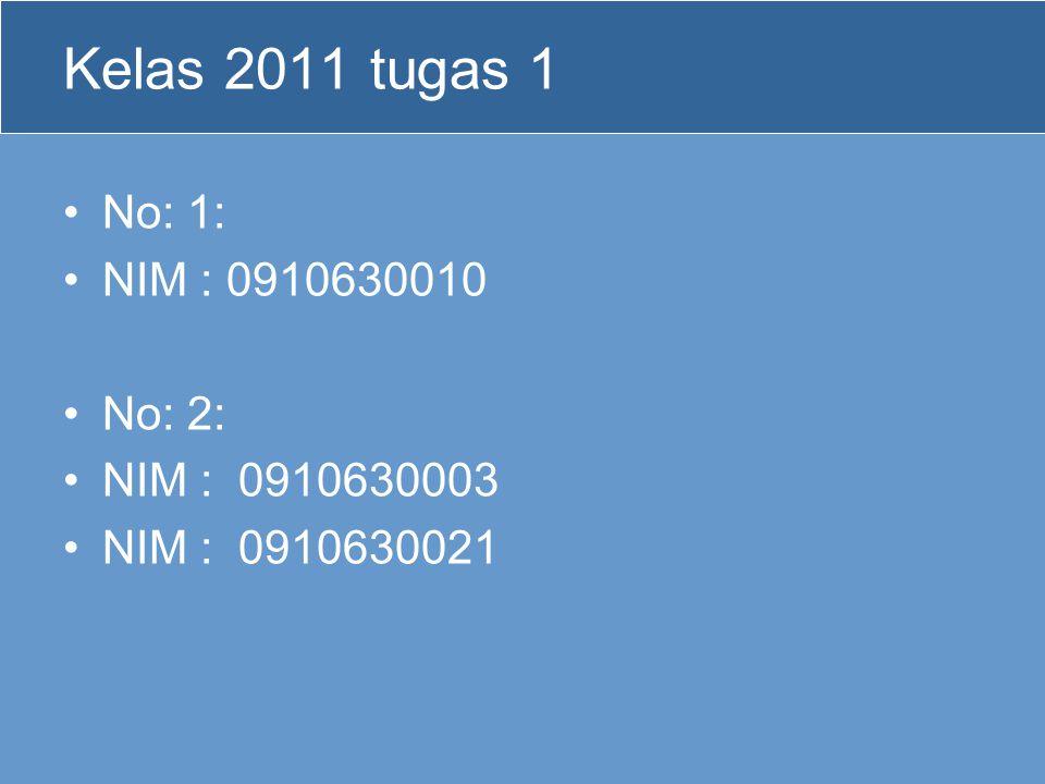 Kelas 2011 tugas 1 No: 1: NIM : 0910630010 No: 2: NIM : 0910630003 NIM : 0910630021