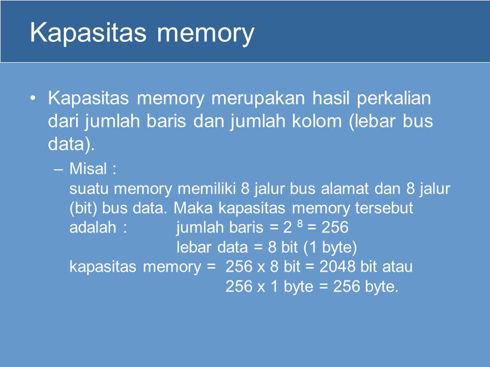 Kapasitas memory Kapasitas memory merupakan hasil perkalian dari jumlah baris dan jumlah kolom (lebar bus data). –Misal : suatu memory memiliki 8 jalu