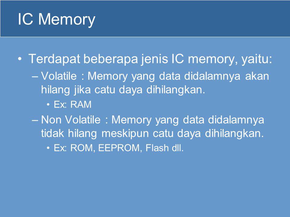IC Memory Terdapat beberapa jenis IC memory, yaitu: –Volatile : Memory yang data didalamnya akan hilang jika catu daya dihilangkan. Ex: RAM –Non Volat